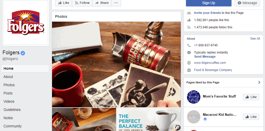 Folgers Facebook profile - Influencer Marketing Statistics