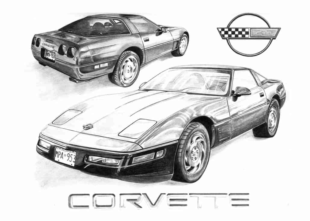 Pencil Drawing of Corvette