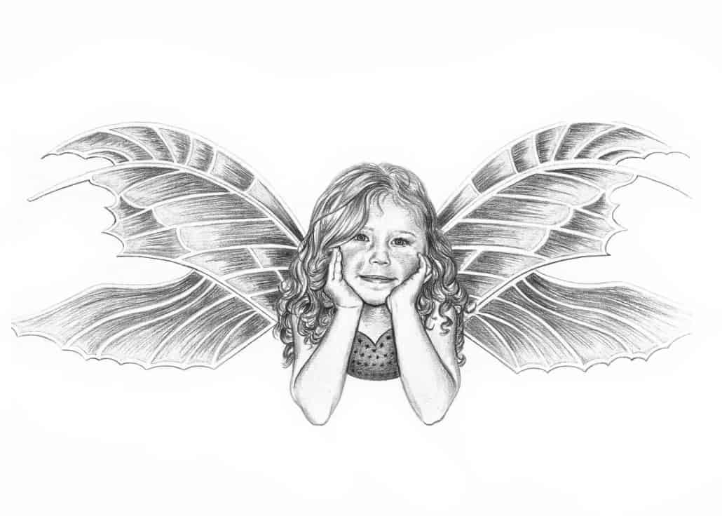 Pencil Portrait of Daughter as a Fairy