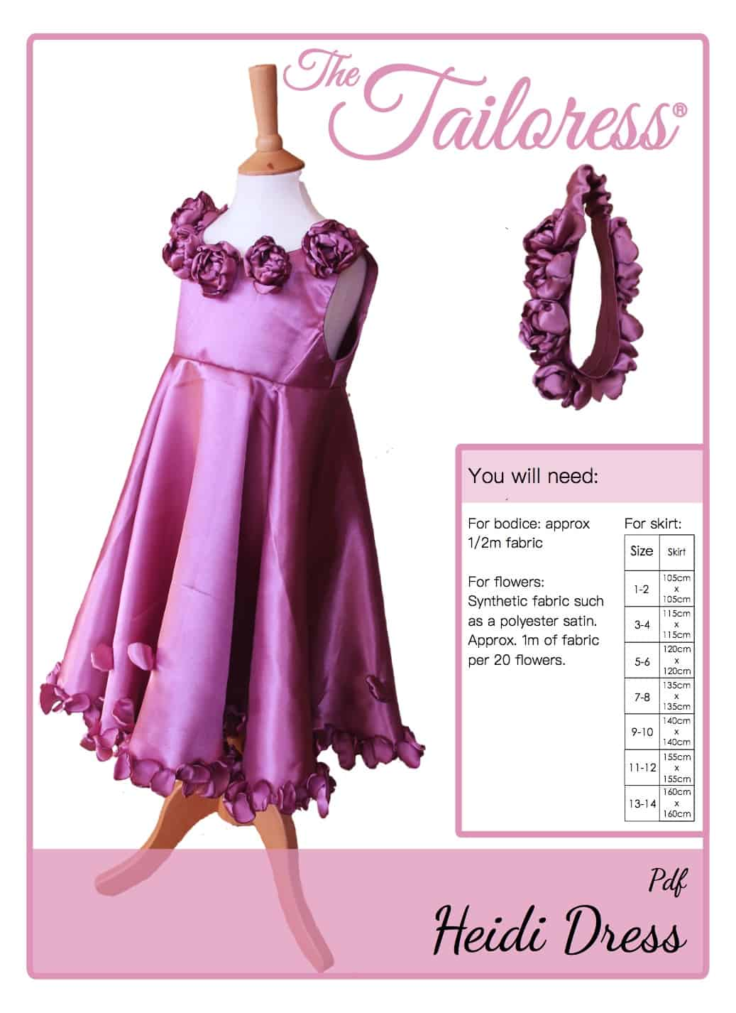 The Tailoress PDF Sewing Patterns - Heidi Rose Flower Bridesmaid Dress Tutorial
