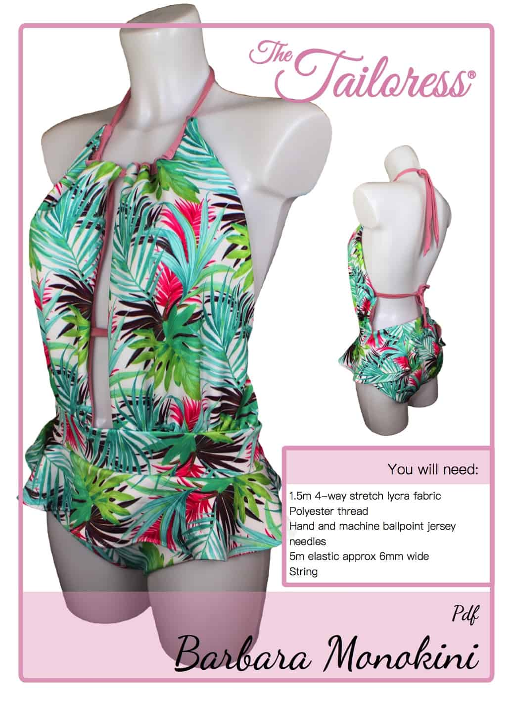 The Tailoress PDF Sewing Patterns - Barbara Monokini Tutorial