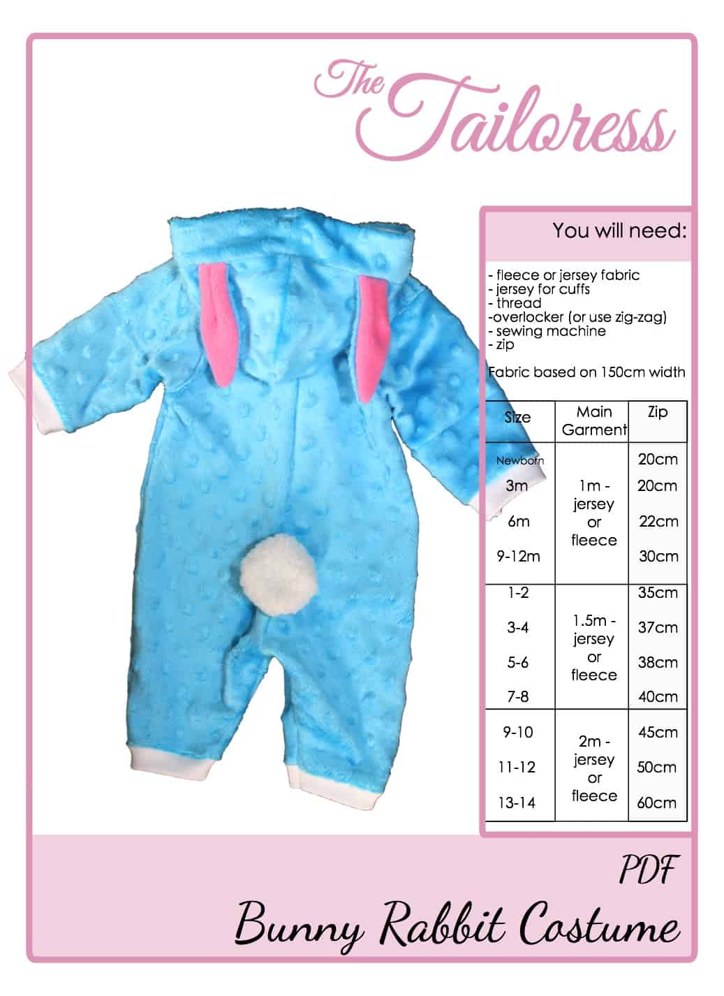 The Tailoress PDF Sewing Patterns - Bunny Rabbit Costume Playsuit Pyjama Tutorial