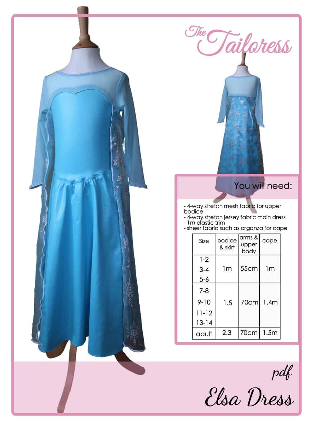 The Tailoress PDF Sewing Patterns - Princess Elsa Frozen Dress Tutorial