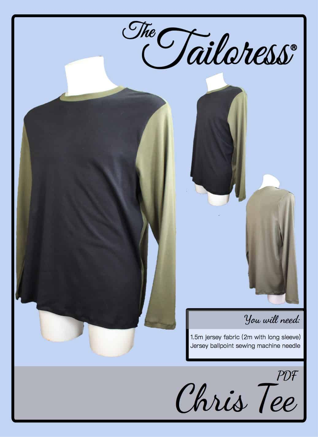 The Tailoress PDF Sewing Patterns - Chris Tee Tutorial
