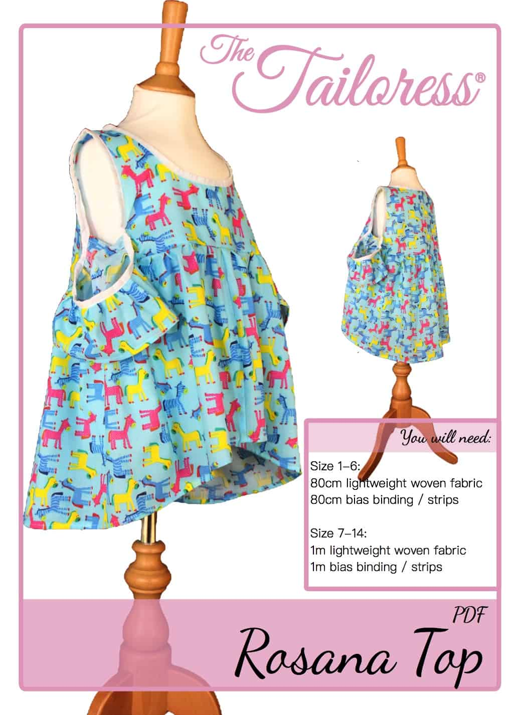 The Tailoress PDF Sewing Patterns - Rosana Top for Children