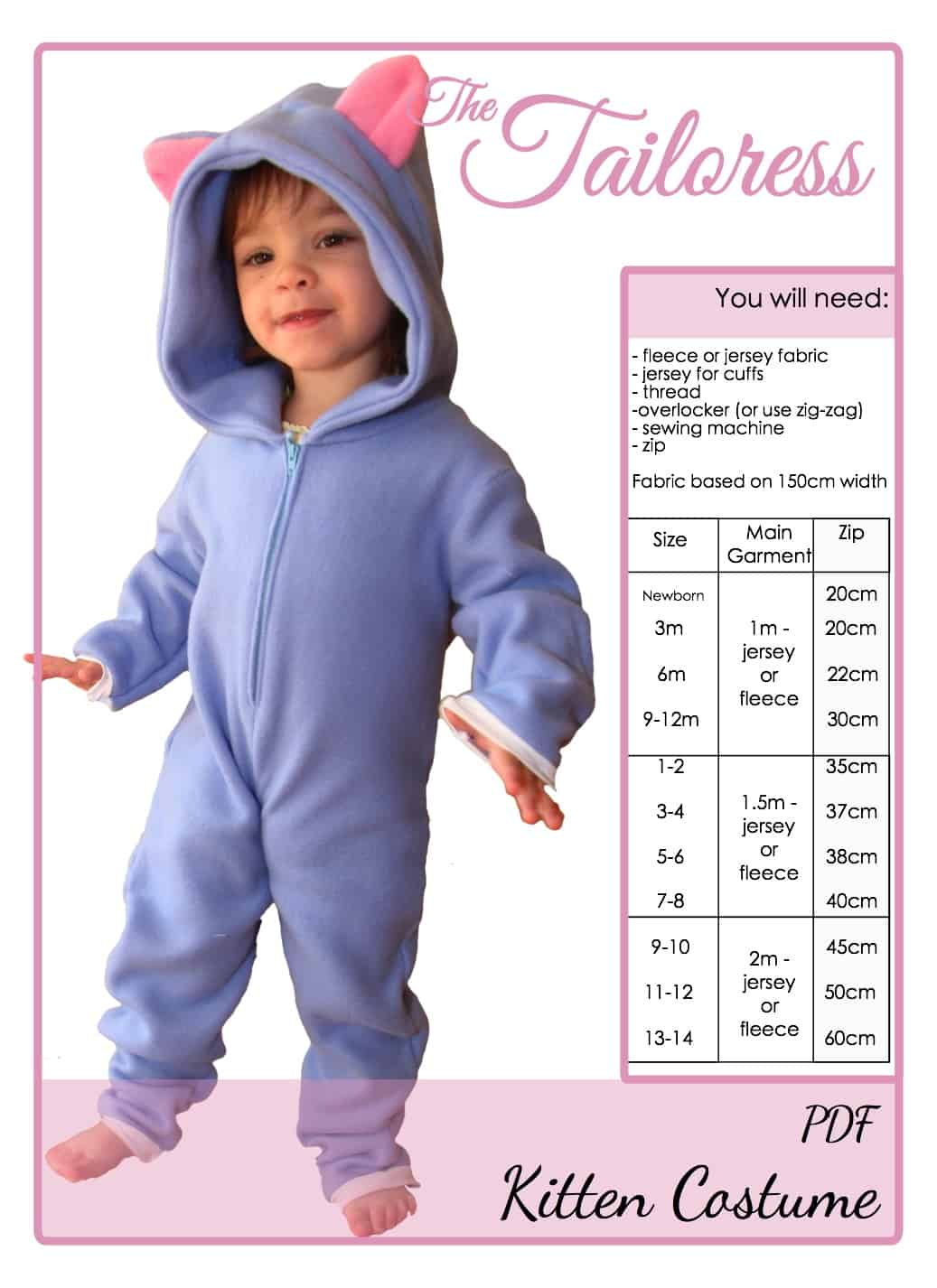 The Tailoress PDF Sewing Patterns - KITTEN - Playsuit Costume Pyjama Tutorial