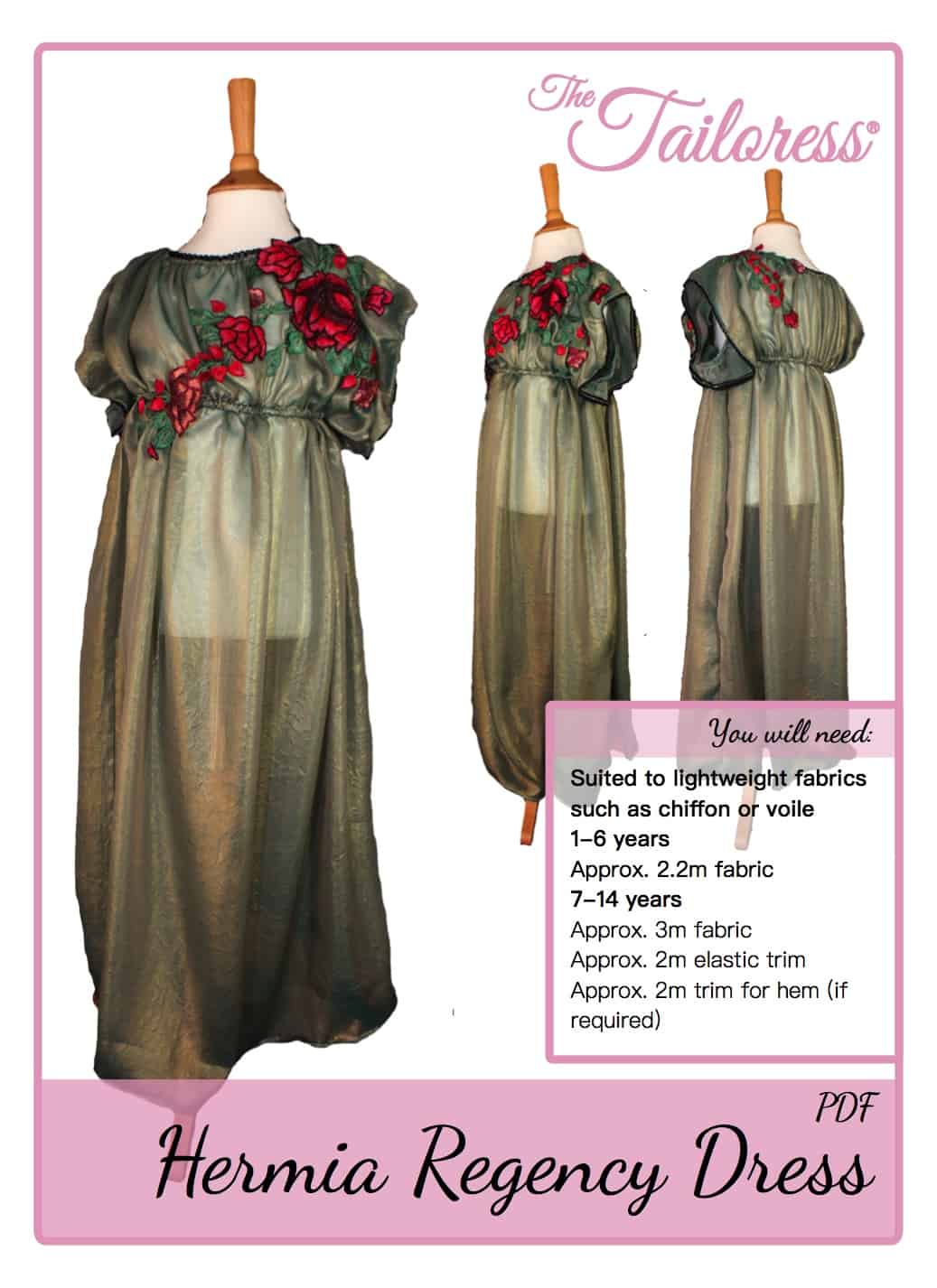 The Tailoress PDF Sewing Patterns - Hermia Regency Dress / Costume Tutorial