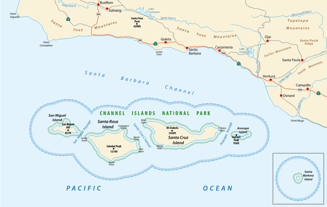 A map of Channel Islands National park in Southern California
