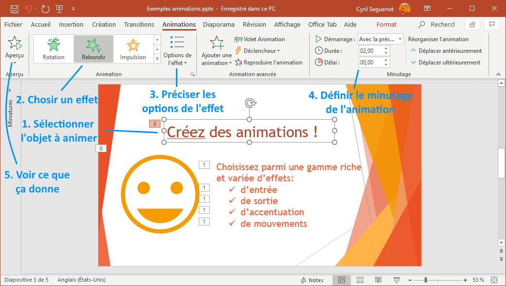 étapes de création d'une animation PowerPoint