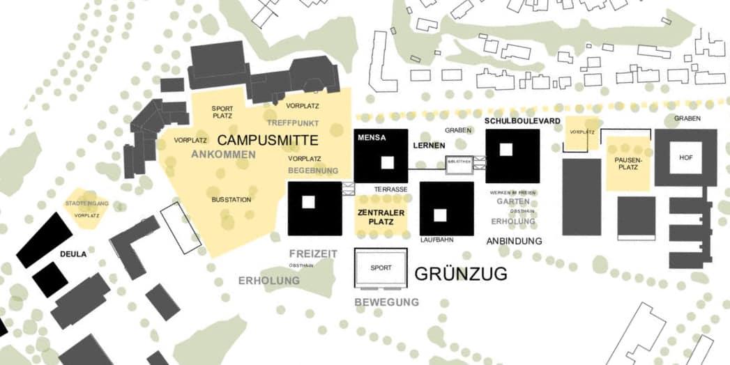 Bild: Planausschnitt Wettbewerb Schulcampus Freising, Räumliche Gliederung, (c) ver.de