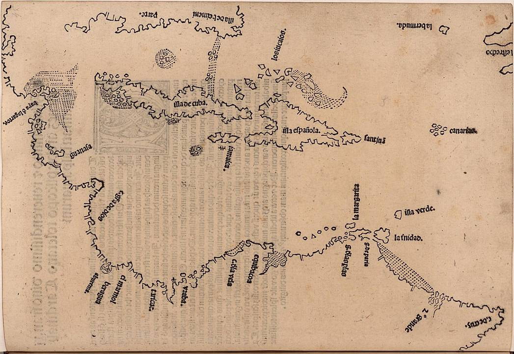 Map of the Caribbean published in Legatio Babylonica, 1511 by Peter Martyr d'Anghiera. Digitized image from John Carter Brown Library