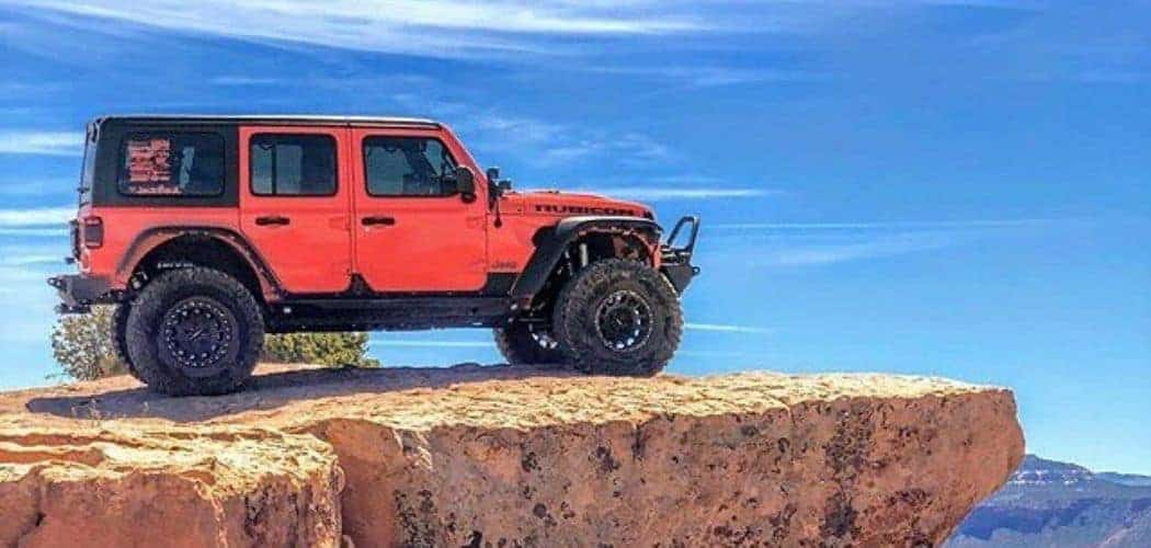 red jeep wrangler with lift kit