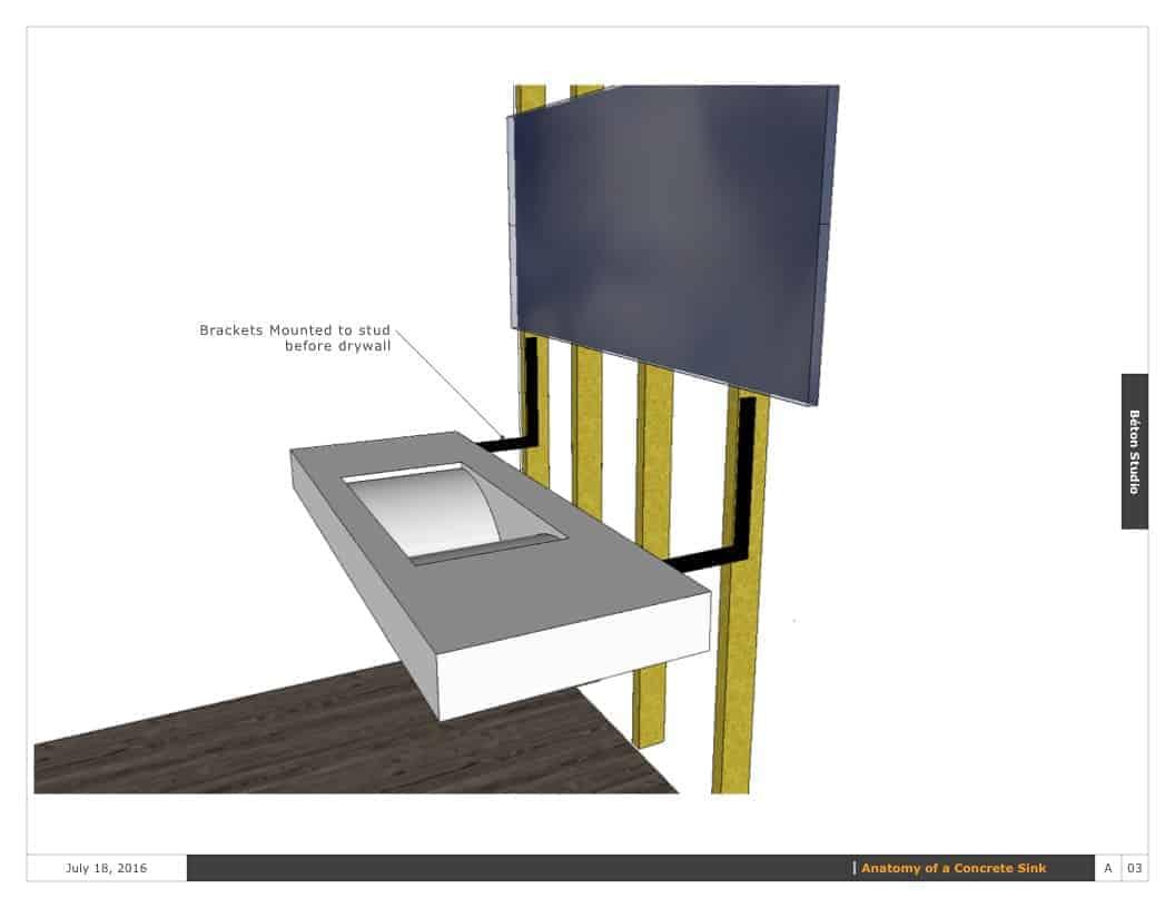 Floating concrete sink diagram