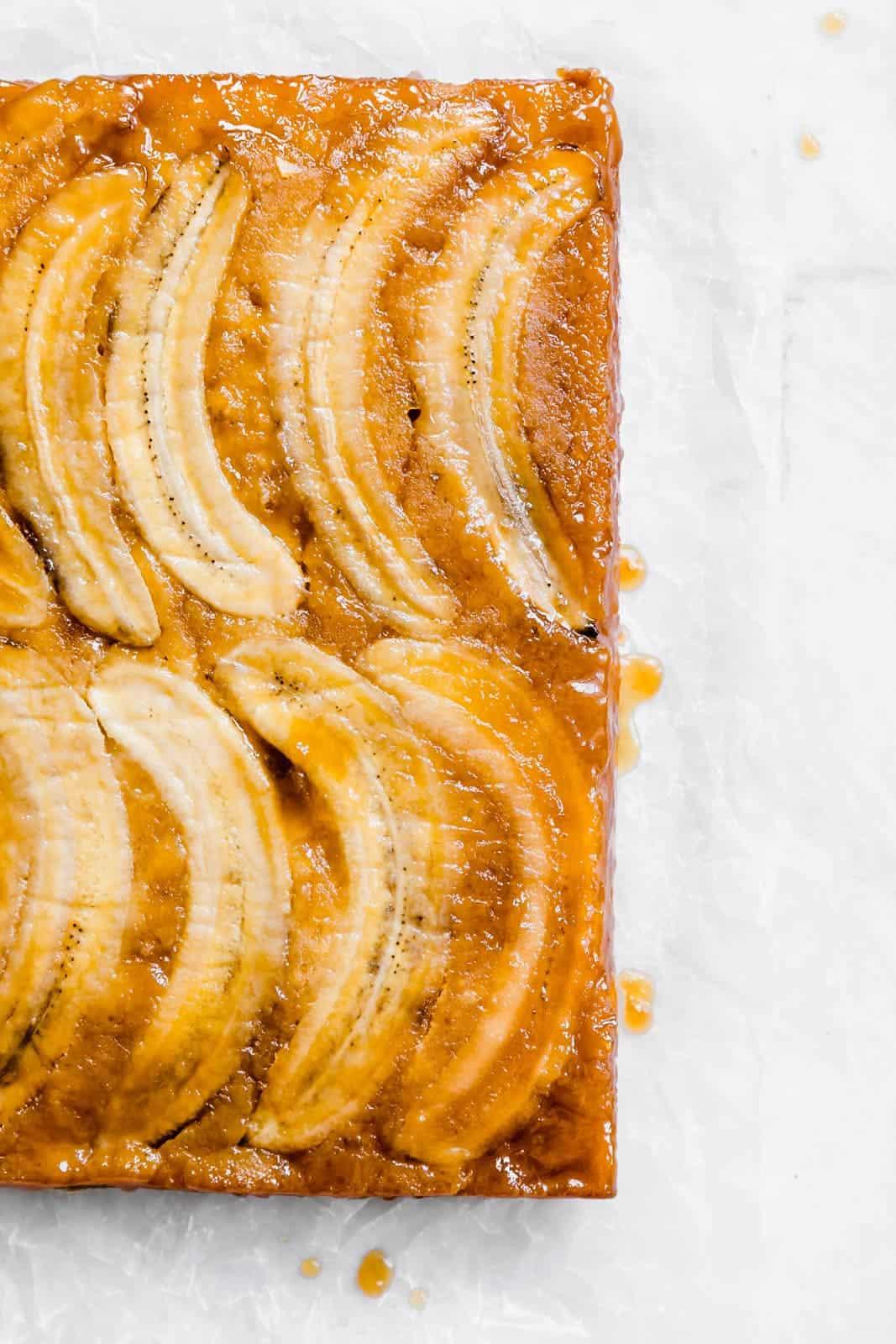 Banana Upside Down Cake on countertop