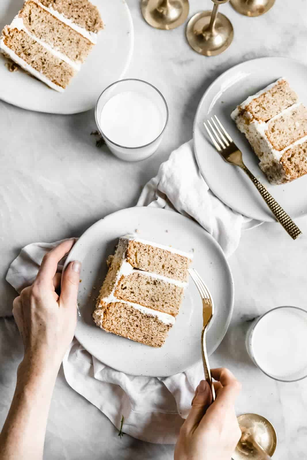 slices of Maple Walnut Cake with Maple Frosting