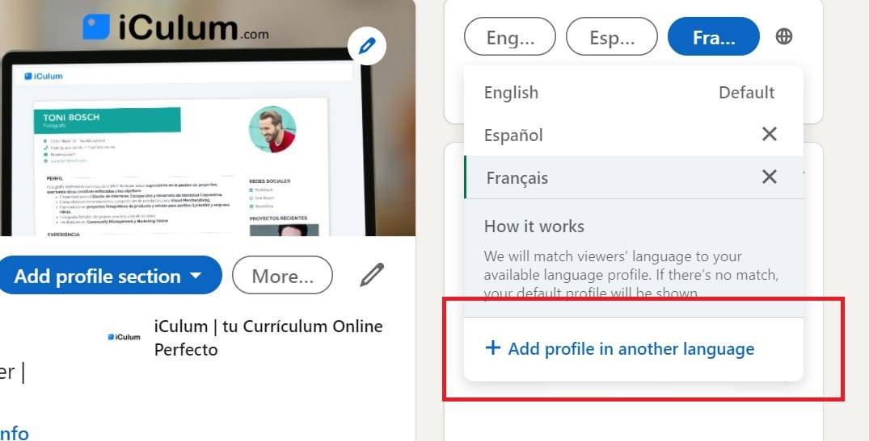 Linkedin perfil en varios idiomas iCulum