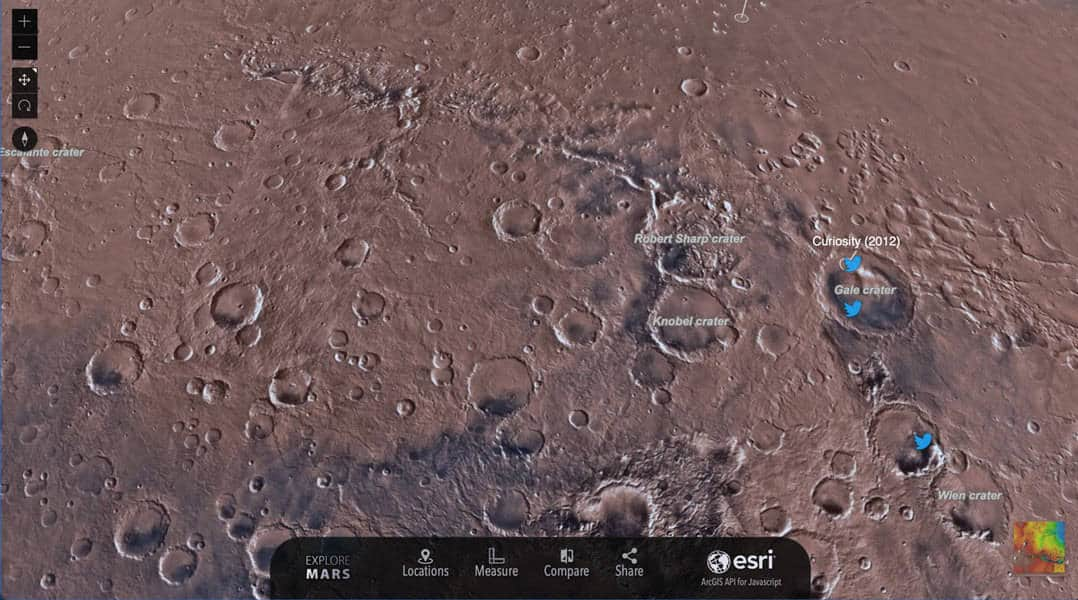 Screenshot of Mars from Esri's Explore Mars! site.