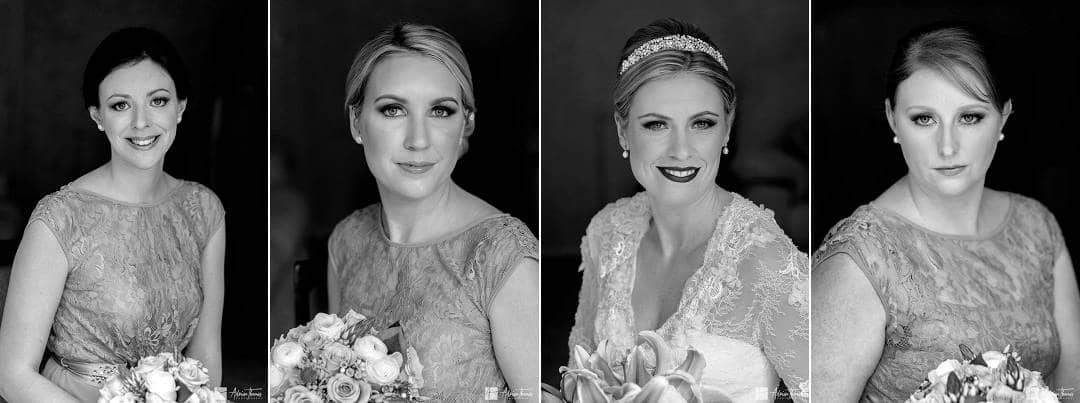 Portrait image of bride and bridesmaids
