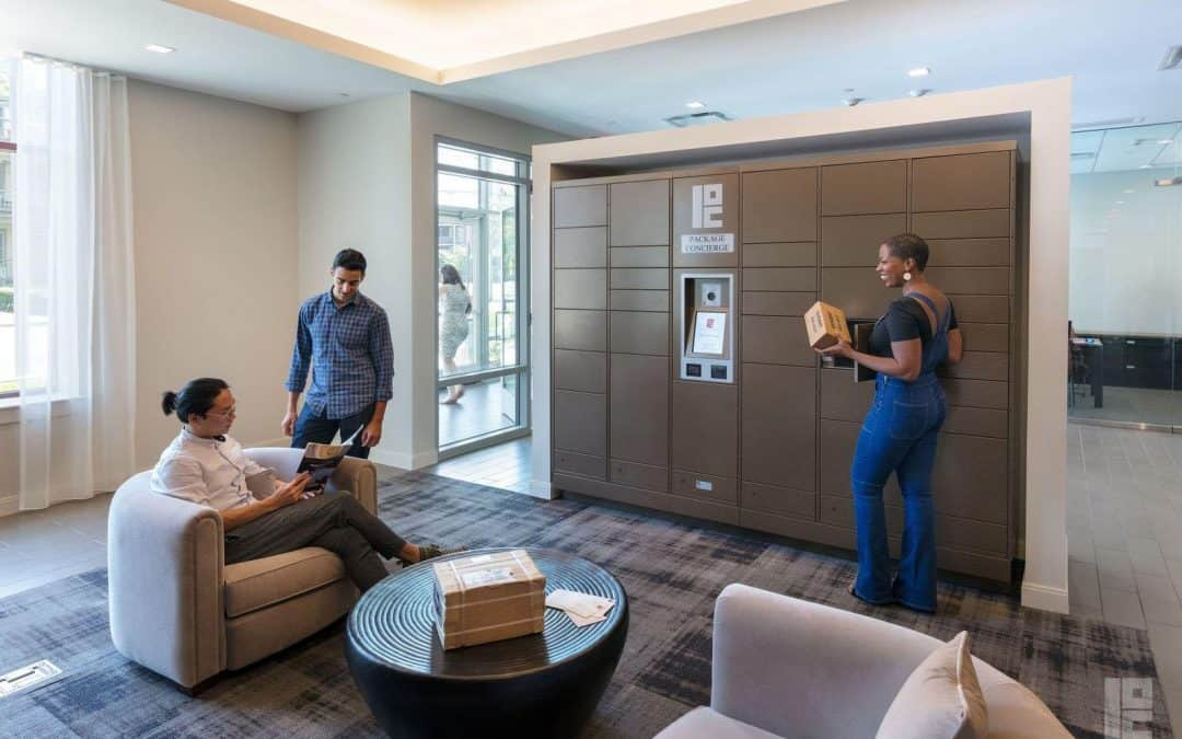 Residents have a conversation in front of apartment package locker