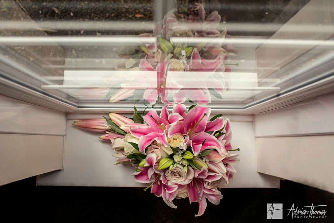 Wedding bouquet and reflection
