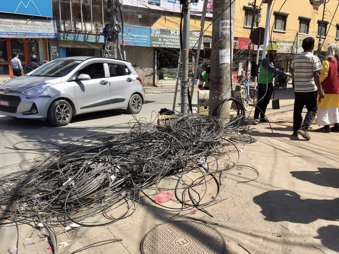 Kabelsalat in Kathmandu Nepal