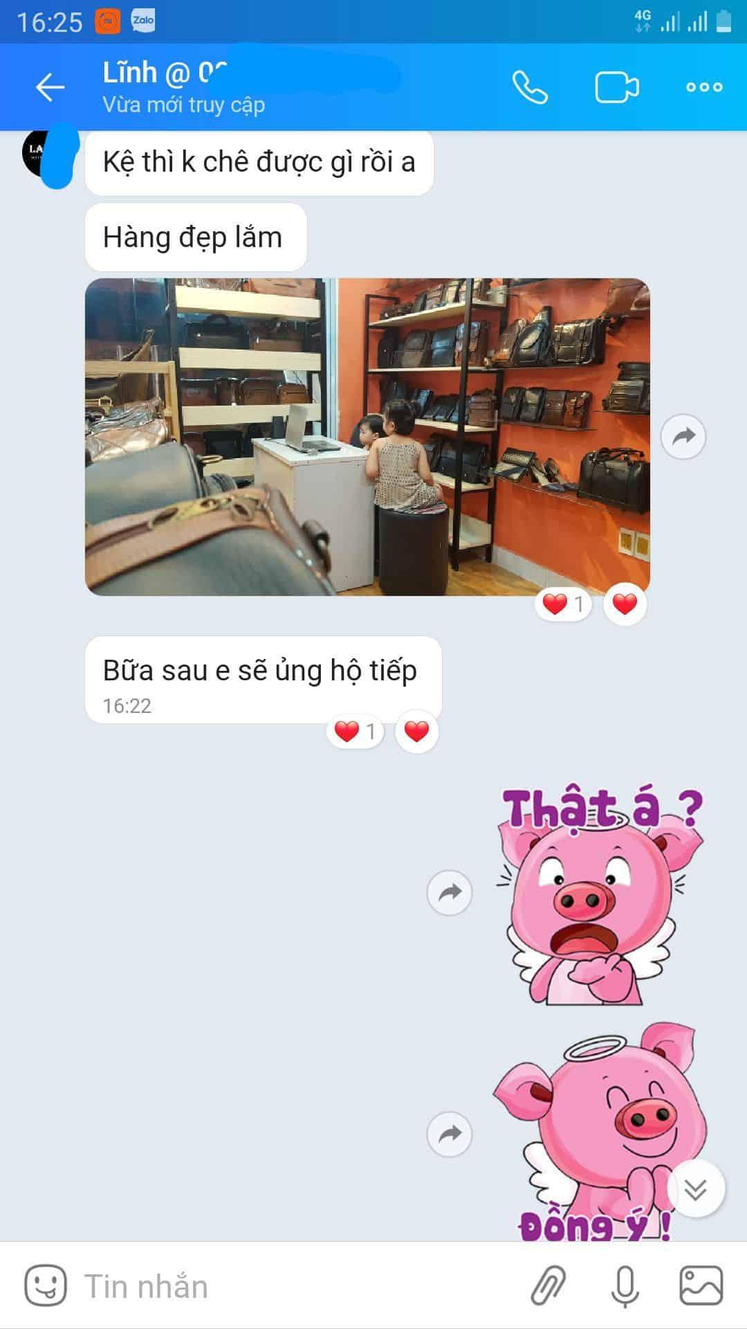 Shop Lan Vy chia sẻ cảm nhận kệ gỗ khung sắt trưng bày sản phẩm đồ da