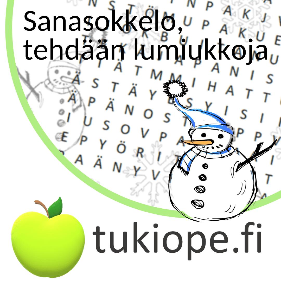 talvi sanasokkelo lumiukko