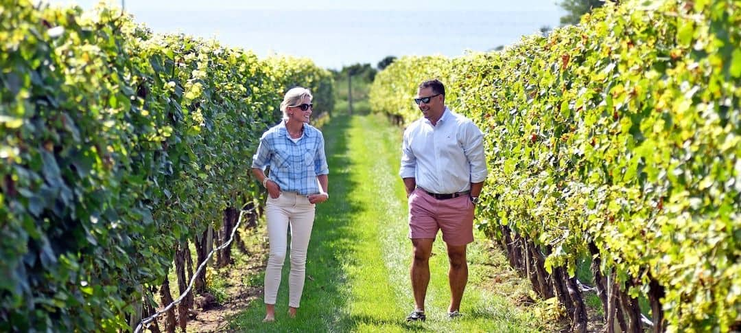Liana Buonanno and Paul Fede, co-founders of Gooseneck Vineyards are pictured at Jamestown Vineyards