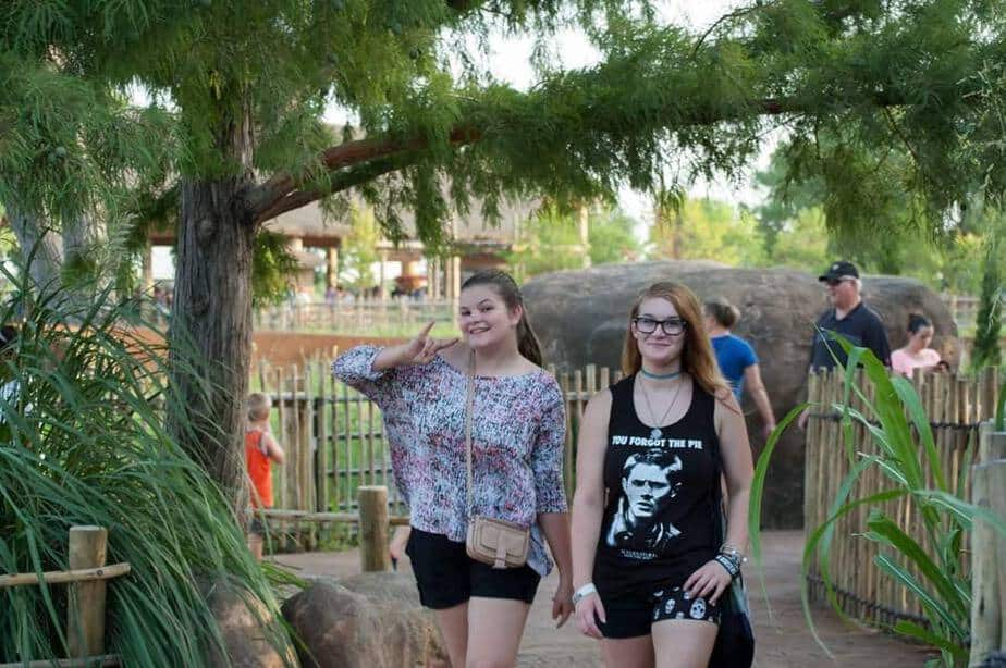 Teens enjoying a free night at the Sedgwick County Zoo
