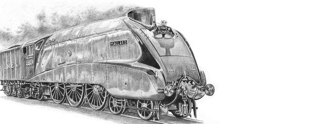 Drawing of Mallard Steam Train