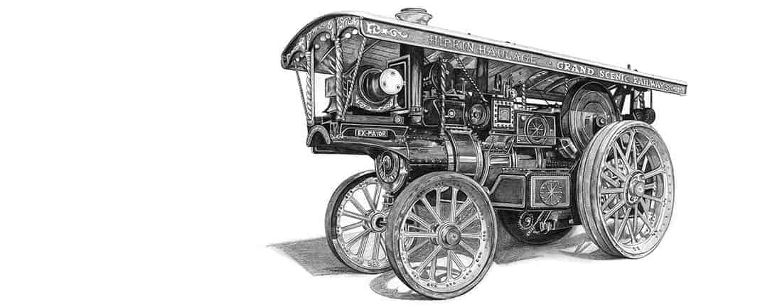 Drawing of Showman's Traction Engine