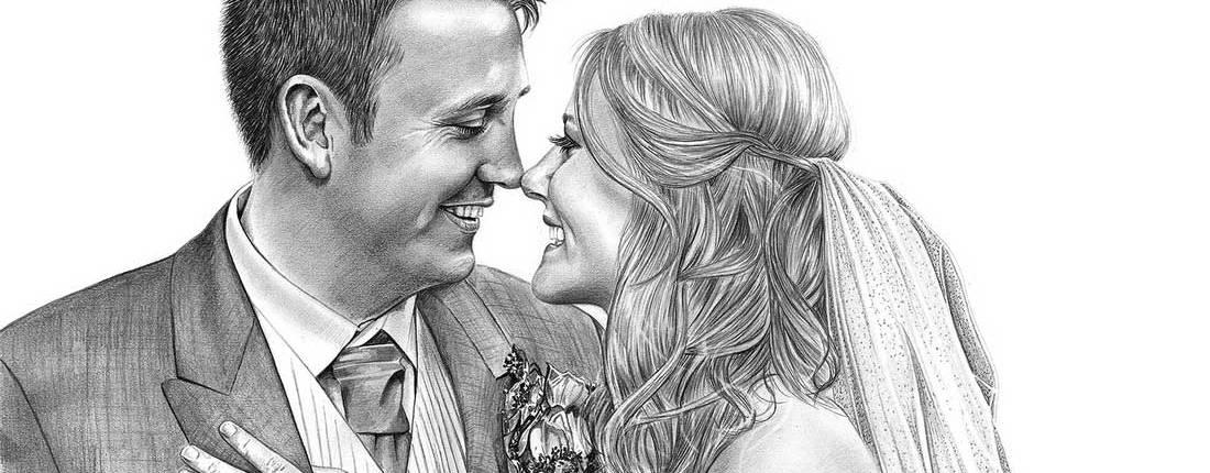 Drawing of Wedding Couple