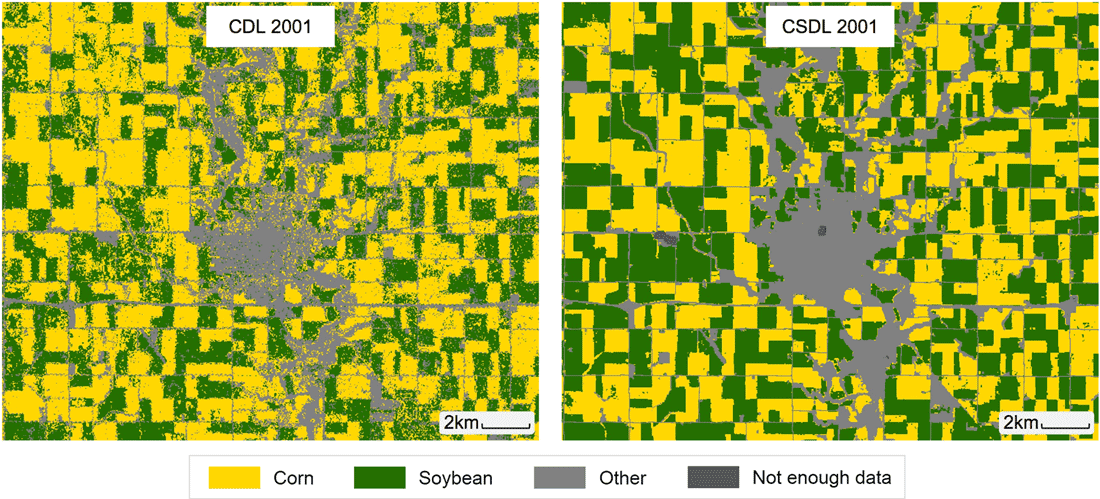 The left image shows the USDA CDL layer for Corn and soybean classification around Webster City, Hamilton County, Iowa in 2001. The right image shows the results of the Corn-Soy Data Layer (CSDL). Figure: Wang et al., 2020.