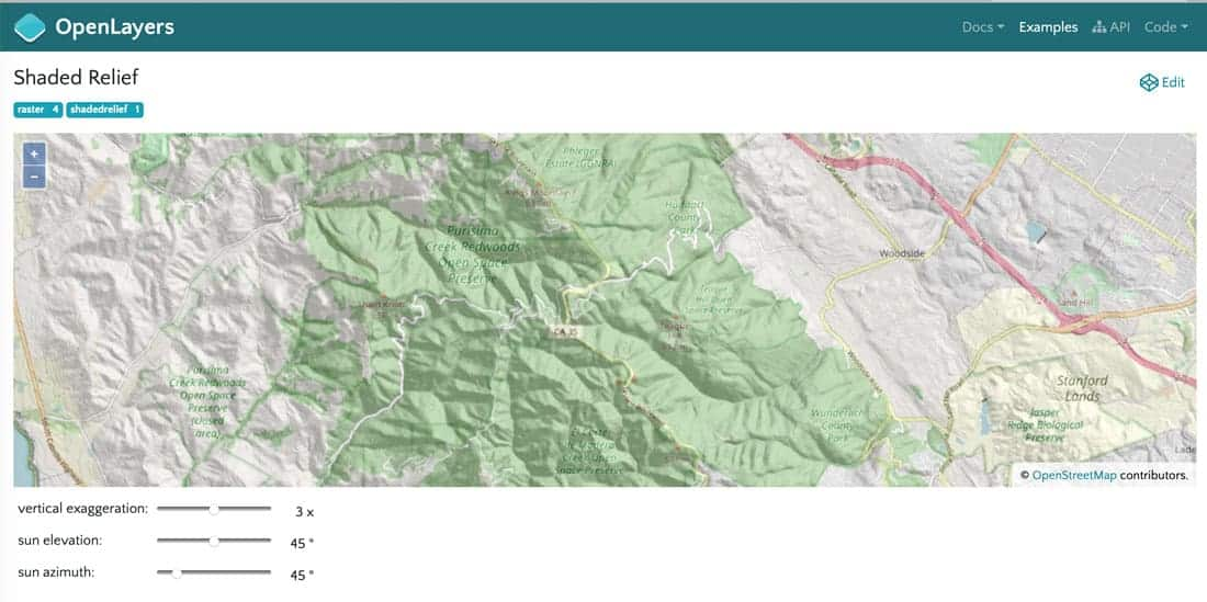 The OpenLayers site hosts many examples of the library in use. Screenshot from OpenLayers showing calculated shaded relief from elevation data.