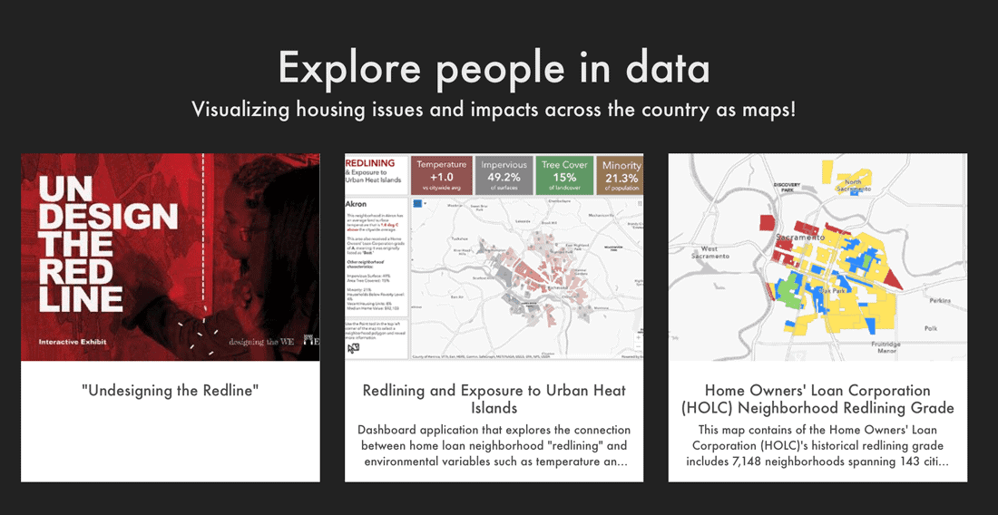On the People for the People site, visitor can explore story maps to learn more about specific issues.  Screenshot.