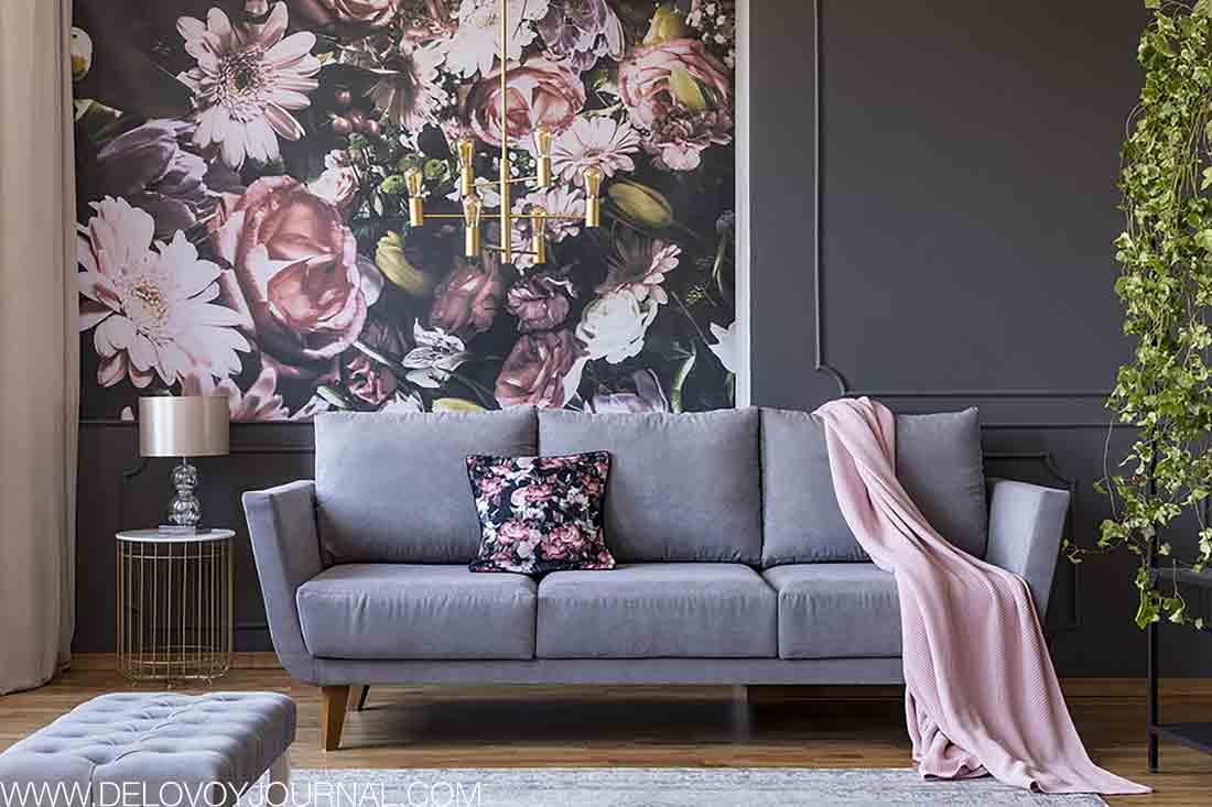 Серо-розовый дизайн современности