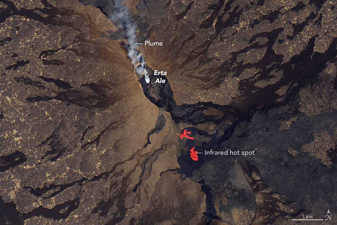"""Erta Ale is a shield volcano near the Ethiopian and Eritrean border. It is known as the """"smoking mountain"""" and the """"gateway to hell"""" in the Afar language.  Landsat 8 on January 26, 2017."""