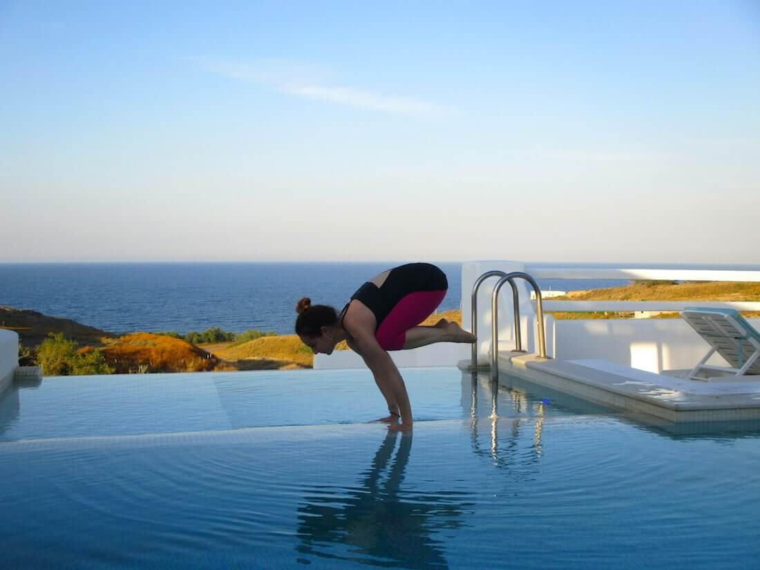 yoga at hilltop villa pool