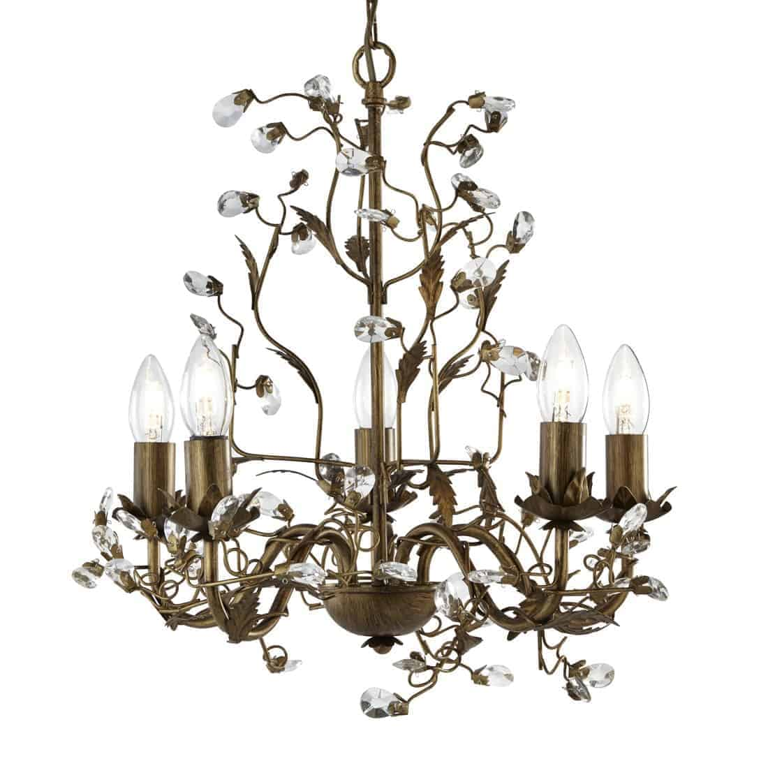 Searchlight 2495-5BR Almandite Brown Gold Finish 5 Light Chandelier with Crystal Dressing