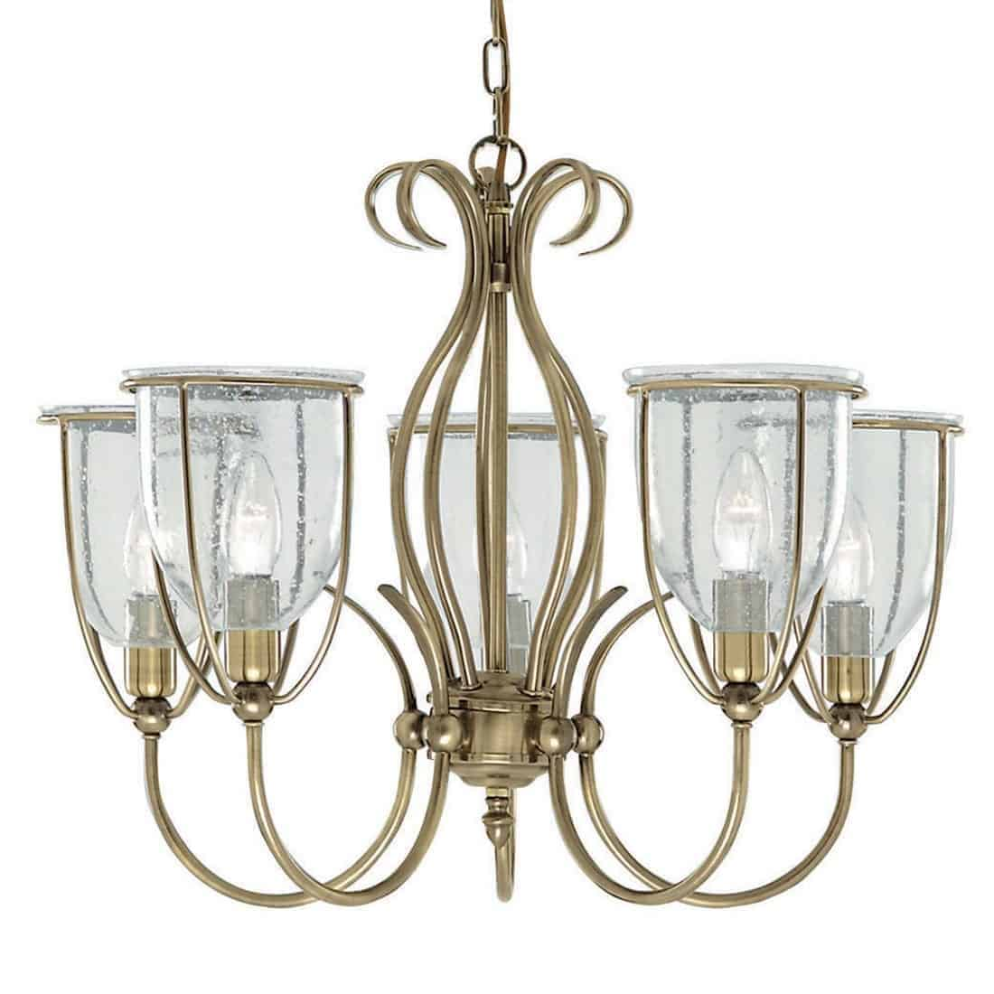 Searchlight 6355-5AB Silhouette Antique Brass 5 Light Fitting with Clear Seeded Glass Shades