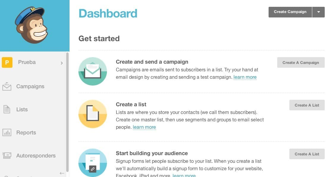 dashboard mail chimp