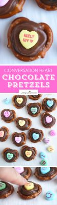 Conversation Heart Chocolate Pretzels are perfect for Valentine's Day school parties or gifts! Kids will love picking out their favorite candy saying.