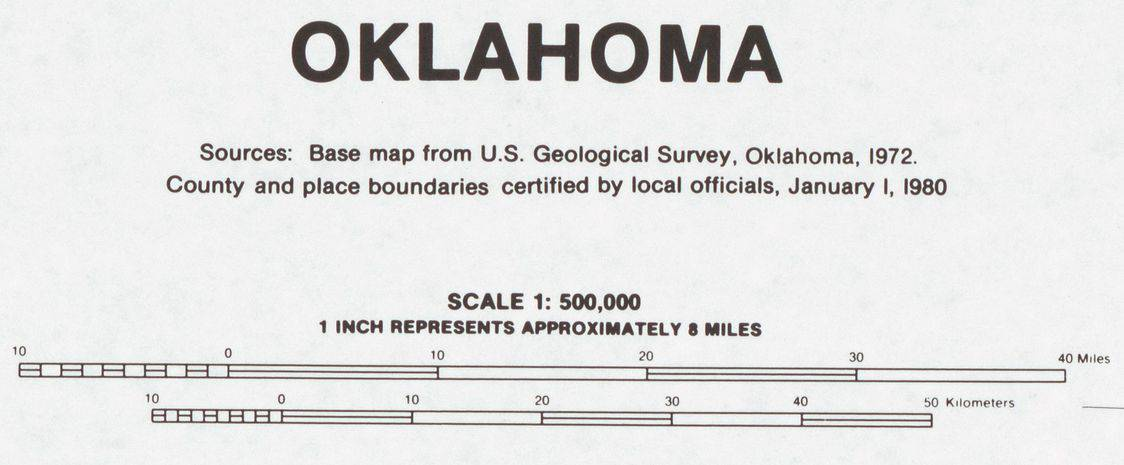 Base map of the state of Oklahoma prepared by United States. Bureau of the Census. Geography Division. Library of Congress, public domain.