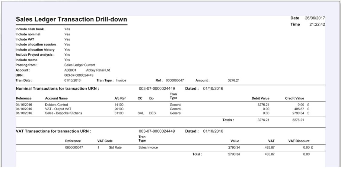 Sage 200 Transaction Drilldown