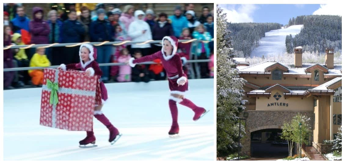 Christmas in Vail's family-friendly Lionshead includes ice skating and holiday festivities at Antlers at Vail, part of the hotel's new December Ho-ho-holiday ski-and-stay package.