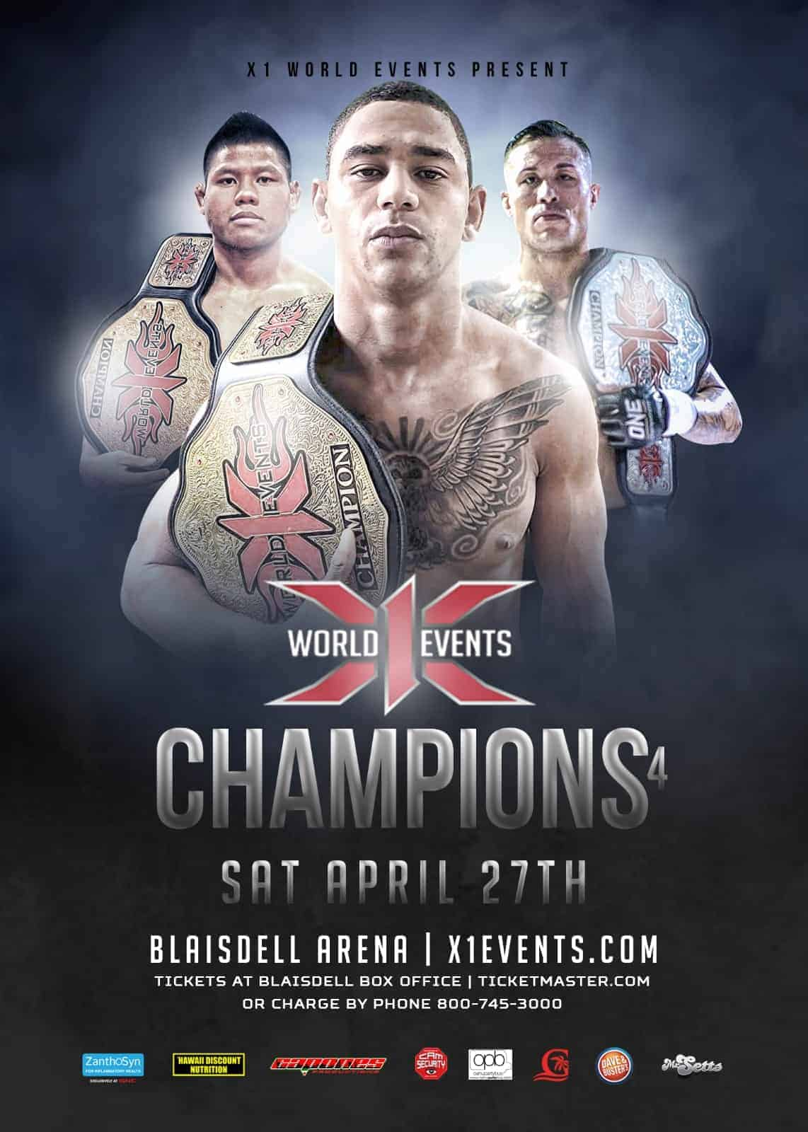 X1#54: Champions 4 April 27 2019 Fight Results