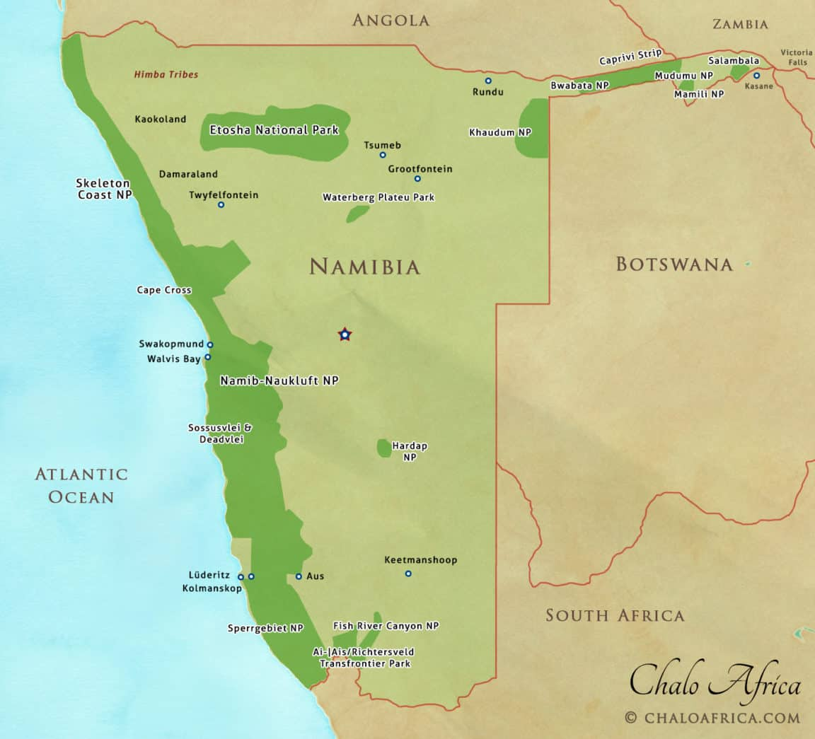 Namibia Safari Map