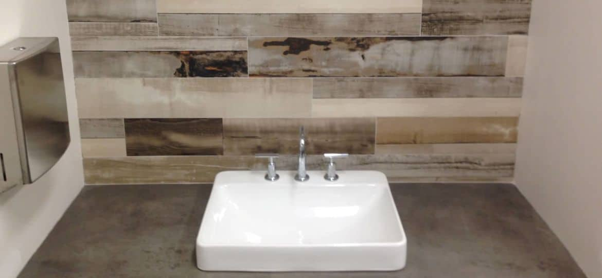 Trowel Finish Concrete Countertop with white sink