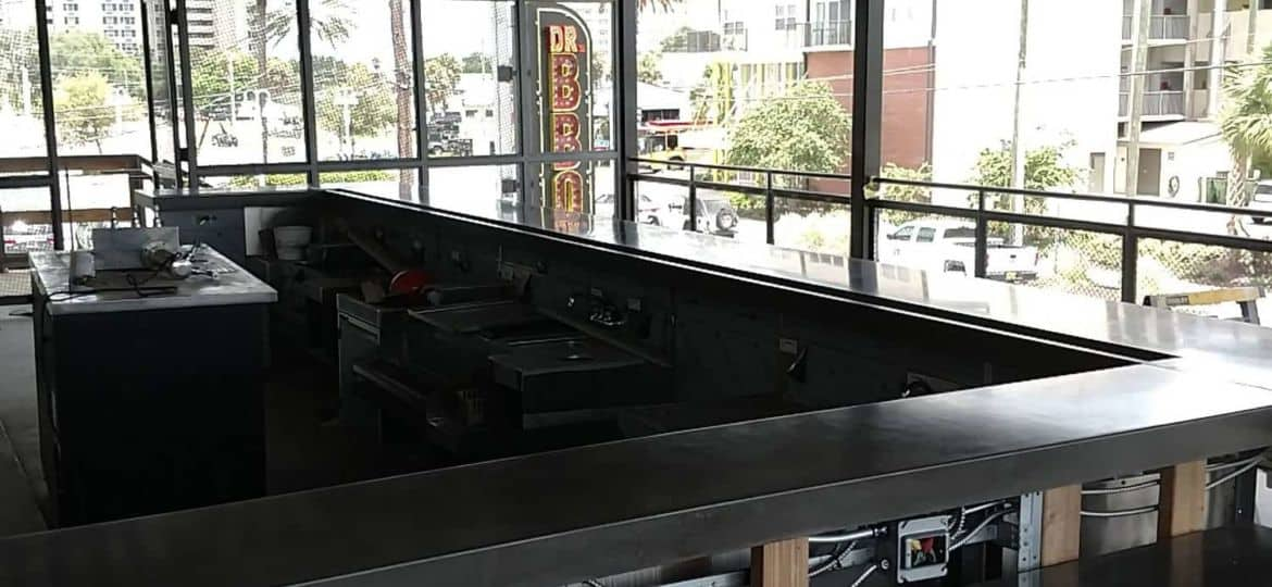 Concrete Countertop install at Dr BBQ restaurant in St Petersburg, FL