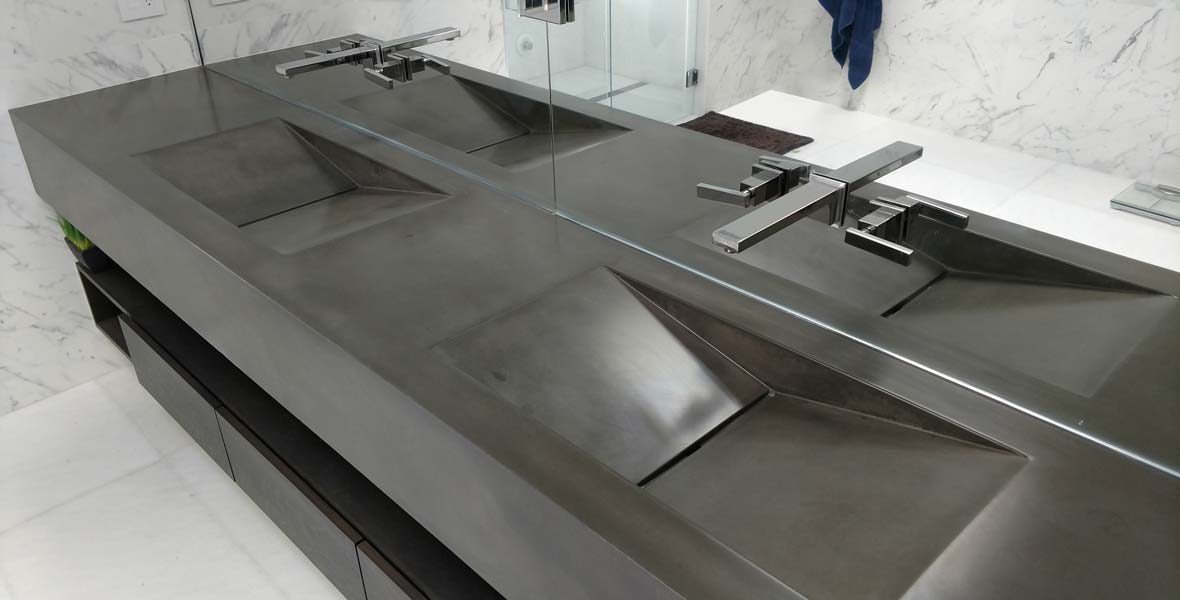 Concrete Vanity with Double Integral Sinks Charcoal Colored